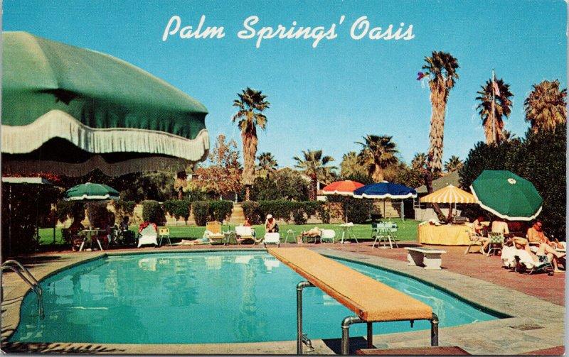 Palm Springs CA The Oasis Hotel Pool Resort Unused Vintage Postcard F65