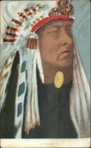 Native American Indian CURLEY Close-up c1910 Postcard