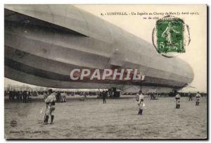 Old Postcard Jet Aviation Zeppelin Airship Luneville A zeppelin in the Campus...