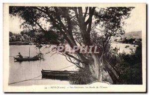 Old Postcard Sens Yonne Its Surroundings The banks of the Yonne Fisherman