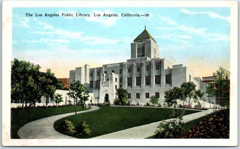 Los Angeles California Postcard L.A. Public Library Building View c1930s Unused