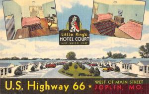 Joplin Missouri Little King's Hotel Court Route 66 Vintage Postcard JA4742675
