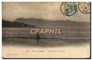 Old Postcard warship Gustave Zede Submarine