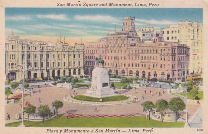 Peru Lima San Martin Square and Monument