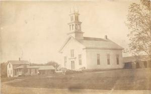 Beautiful Church~People @ House~RPPC pm 1910 @ Au Gres? Michigan-Arenac County