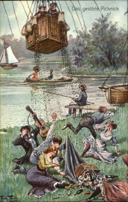 Arthur Thiele Hot Air Balloon Series 409 Das Gestorte Picknick c1910 Postcard