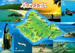 Hawaii Map Of Oahu Showing Waimea Bay Sea Life Park Waikiki Beach and More