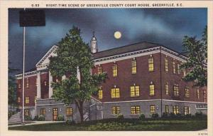 South Carlina Greenville Night Time Scene Of Greenville County Court House