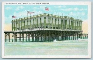 Daytona Beach Florida~Pier Casino on Stilts in Water~Close Up~Pennant~Flags~1925