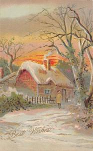 Best Wishes~Solitary Figure by Country Cottage~Sunset~Bare Trees~Emboss~1908 PC