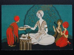 RED STAR LINE 06 Woman Servant & Musicans Deco c1920s Postcard by J.L. Goffart