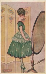 ART DECO ; Female in green 3-tier cocktail dress looking in mirror, 1910-20s