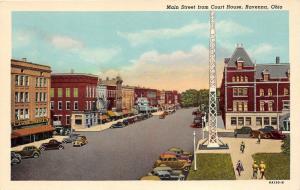 Ravenna Ohio~Main Street @ Court House~Woolworth's~Drug Store~1950s Postcard