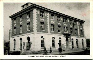 Vtg Carte Postale 1940s Fédéral Bâtiment - Coeur D'Alene Id Idaho - non Utilisé