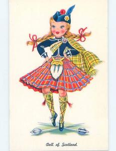 Pre-1980 SCOTTISH DOLL ON POSTCARD Edinburgh Scotland Uk hn6424