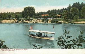 NH, Manchester, New Hampshire, Merrimac River, Boat, H.C. Leighton