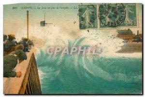 Old Postcard Dieppe La Jetee a Day Storm