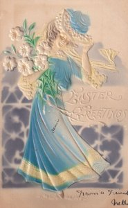 EASTER, 1900-10s; Greetings, Woman holding bouquet of Lilies in gust of wind;...