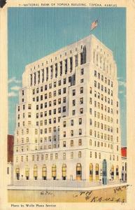 Topeka Kansas~National Bank of Topeka Building~1940s Art Deco Linen Postcard