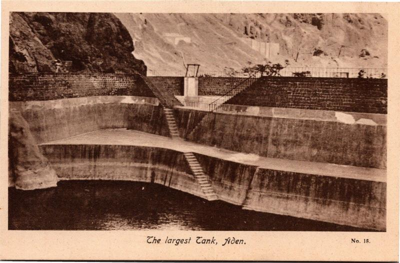 The Largest Tank, Aden Yemen Cisterns of Tawila Vintage Photo Postcard H18