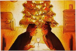 Romantic Couple Postcard Candles Valentine Artist Signed New Modern Unposted