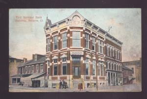 BELLAIRE OHIO DOWNTOWN FIRST NATIONAL BANK BUILDING ANTIQUE VINTAGE POSTCARD