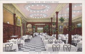 Illinois Chicago Henrici's Restaurant Dining Room 1941 Curteich