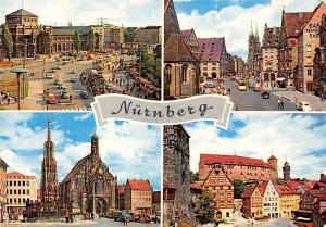 Nuernberg, Brunnen Kirche Strasse Auto Tram Cars Castle Church