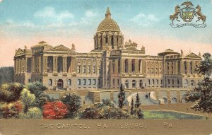 LPS13 Harrisburg Pennsylvania The State Capitol Building Gold Embossed Postcard