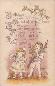 Best Birthday Wishes, children carrying a gift and wild flowers, Poem,  PU-1913