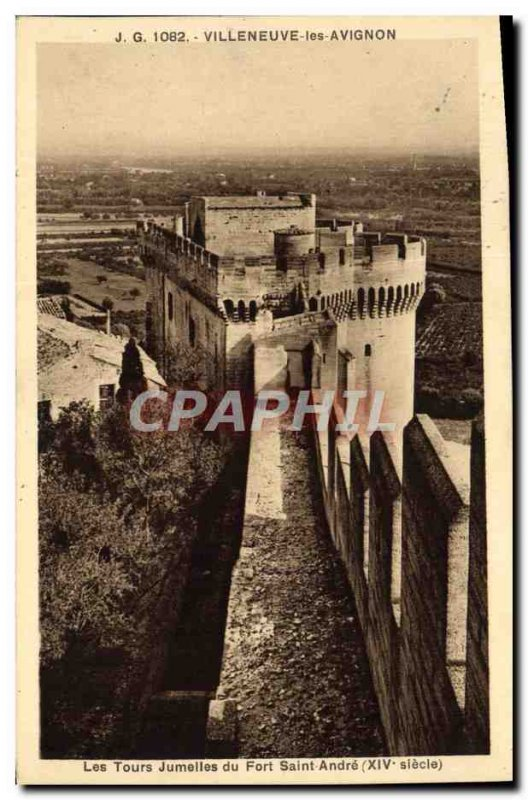 Old Postcard Villeneuve Avignon The twin towers of the Fort Saint-Andr?