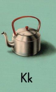 K Is For Kettle Ladybird Vintage Alphabet Childrens Book Postcard