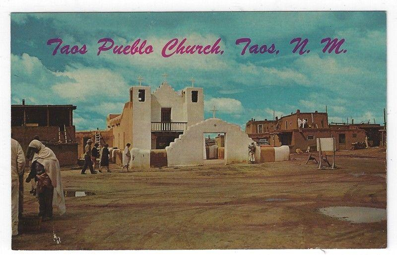 Taos, New Mexico, Early View of Taos Pueblo Church