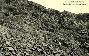 C 1910 A Difficult, Snake River, Idaho Oregon Trail Postcard F98