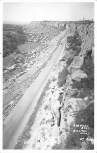 Billings Montana~Airport Road~Checkered Tower~1950 Real Photo Postcard~RPPC