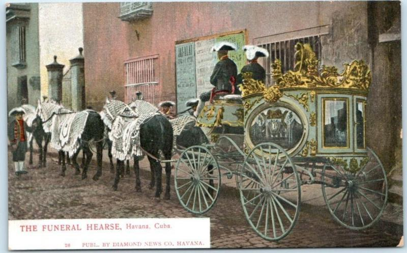 HAVANA, CUBA Horse Drawn THE FUNERAL HEARSE ca 1900s UDB