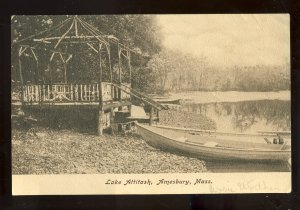 Amesbury, Massachusetts/MA Postcard, Lake Attitash, Rowboat On Shore