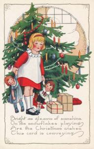 Christmas Greetings Girl with Dolls Presents at Tree - Whitney Made - DB
