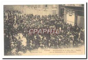 Nantes Postcard Old Events of June 14, 1903 street brawl Chateaudun Saint Den...