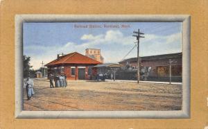 Rockland MA Railroad Station Train Depot Postcard