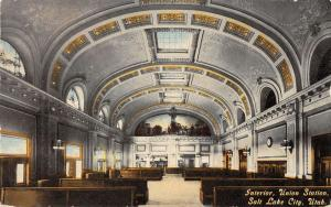 Salt Lake City Utah Union Station Interior Antique Postcard K11196