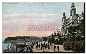 Old Postcard Monte Carlo Casino Terraces and Theater