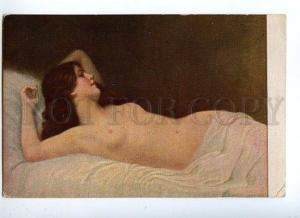 129077 Semi-NUDE Belle Woman in Bed Vintage Russian Color PC