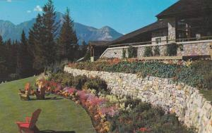 Terrace Gardens border the extensive lawns of Jasper Park Lodge in the Canadi...