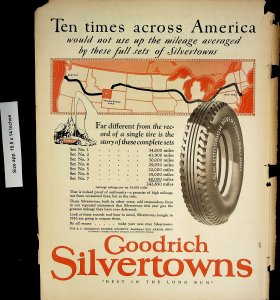 1926 Goodrich Silvertons Tires NY Yellowstone Seattle Map Vintage Print Ad 4432