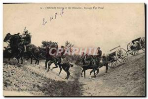 Old Postcard Militaria L & # 39artillerie montee and barriers Passage of & # ...