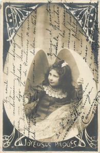 Joyeuses Paques jeune fille oeuf fantaisie 1904 Easter girl egg fantasy postcard