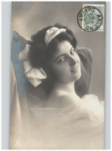 Girl with Bow & Chiffon Drape Glancing Over Shoulder Antique 1909 RPPC European