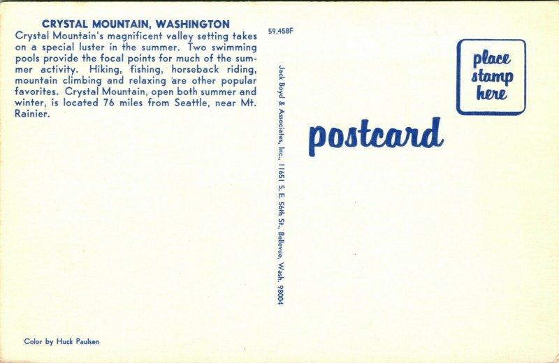 Vtg Postcard Crystal Mountain Washington Ski Resort Swimming Pools