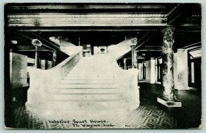 Fort Wayne Indiana~Court House Interior Staircase~Marble Pillar~1910 CU Williams